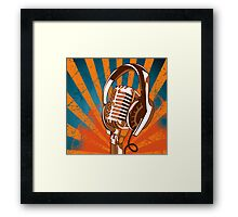 Retro Microphone/Headphones Framed Print