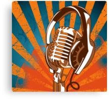 Retro Microphone/Headphones Canvas Print