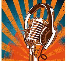 Retro Microphone/Headphones Photographic Print
