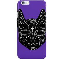 Black Spirit Cat on Purple Background  iPhone Case/Skin