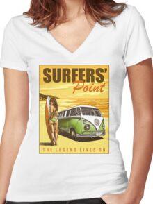 VW Kombi Surf Design Women's Fitted V-Neck T-Shirt