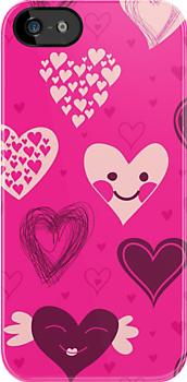 Cute hearts iPhone case by Anastasiia Kucherenko