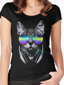 Cool music cat Women's Fitted Scoop T-Shirt
