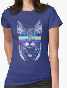 Cool music cat Womens Fitted T-Shirt