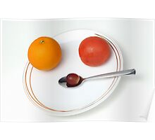 Plate and spoon with one Orange, one tomatoe, one grape Poster