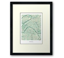 Paris Map Blue Vintage Framed Print