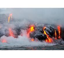 Steam rising off lava flowing into ocean, Kilauea Volcano, Hawaii Islands, United States Photographic Print