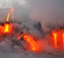 Steam rising off lava flowing into ocean, Kilauea Volcano, Hawaii Islands, United States by Sami Sarkis