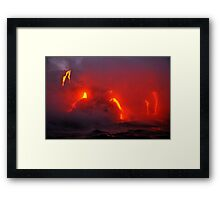 Steam rising off lava flowing into ocean, Kilauea Volcano, Hawaii Islands, United States Framed Print