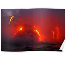 Steam rising off lava flowing into ocean, Kilauea Volcano, Hawaii Islands, United States Poster
