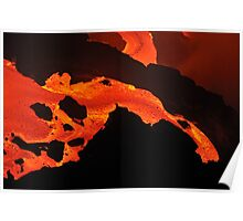 River of molten lava flowing to the sea, Kilauea Volcano, Hawaii Islands, United States Poster