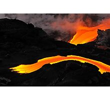 River of molten lava flowing to the sea, Kilauea Volcano, Hawaii Islands, United States Photographic Print