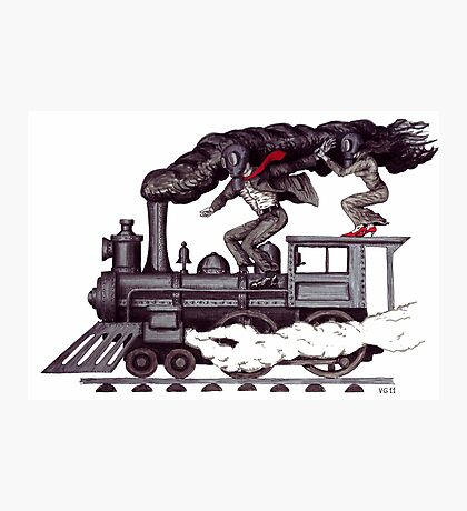Crazy raise on the vintage steam locomotive surreal black and white drawing Photographic Print