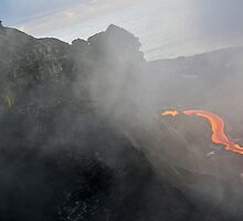People watching river of molten lava flowing to the sea, Kilauea Volcano, Hawaii Islands, United States by Sami Sarkis