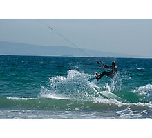 Kite surfer jumping over a wave, Playa de los Lances, Tarifa, Spain. Photographic Print