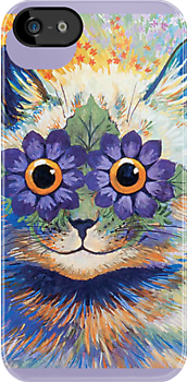 Vintage Flower Cat Art iPhone Case by simpsonvisuals