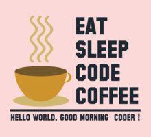 programmer : eat sleep code coffee - hello world One Piece - Short Sleeve