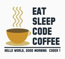 programmer : eat sleep code coffee - hello world One Piece - Short Sleeve