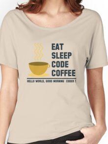 programmer : eat sleep code coffee - hello world Women's Relaxed Fit T-Shirt