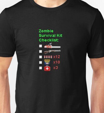 Zombie Survival Kit Checklist Unisex T-Shirt