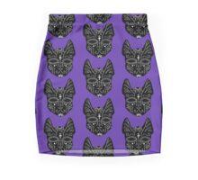 Black Spirit Cat on Purple Background  Pencil Skirt
