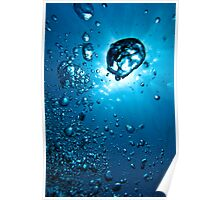 Air bubbles underwater illuminated by sunbeams, Marseille, France. Poster