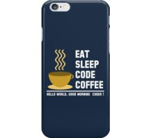 Programmer: eat sleep code coffee - hello world - light iPhone Case/Skin