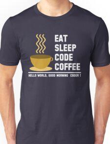 Programmer: eat sleep code coffee - hello world - light Unisex T-Shirt