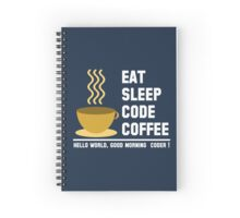 Programmer: eat sleep code coffee - hello world - light Spiral Notebook