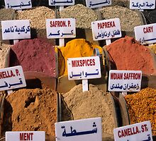 Oregano, mint, paprika, coriander, cumin, saffron spices and herbs on market stall, close-up by Sami Sarkis