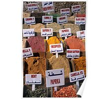 Oregano, mint, paprika, coriander, cumin, saffron spices and herbs on market stall, close-up Poster