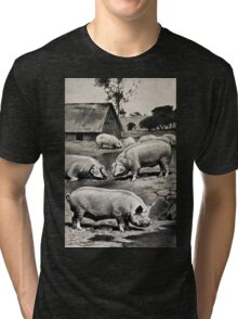 Friedrich Wilhelm Kuhnert Eight pigs on a meadow near a wallow with a thatched barn in Wellcome V0021172 Tri-blend T-Shirt
