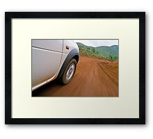 New Caledonia, Grand Terre Island, car on road (blurred motion) Framed Print