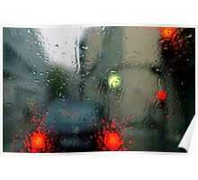 Traffic lights in rain, view through windscreen Poster