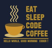programmer : eat sleep code coffee - hello world - gold Kids Tee