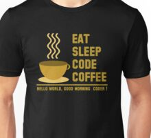 programmer : eat sleep code coffee - hello world - gold Unisex T-Shirt