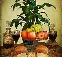 Cheese , Wine and Fruit . by Irene  Burdell