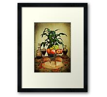 Cheese , Wine and Fruit . Framed Print
