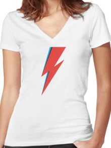 Aladdin Sane - Bowie Women's Fitted V-Neck T-Shirt
