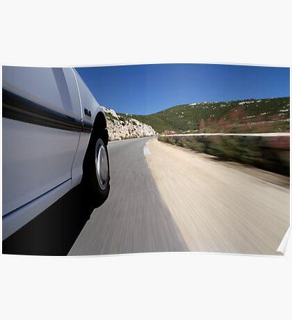 Speeding  car on road Poster