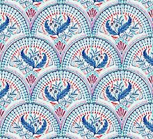 Art Deco Fresco in Cool Mediterranean Blue and Red by micklyn