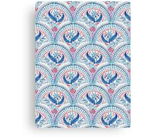Art Deco Fresco in Cool Mediterranean Blue and Red Canvas Print
