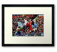 Wayne Rooneys overhead kick by db Artstudio Framed Print