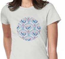 Art Deco Fresco in Cool Mediterranean Blue and Red Womens Fitted T-Shirt