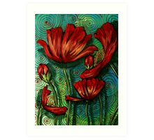 Red Poppies on Green Art Print