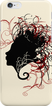 Wild Girl Silhouette - iPhone Case by Neoran