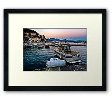 Southern Italy - Sunset over the Gulf of Salerno viewed from Cetara. Framed Print
