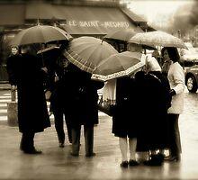 Bla Bla Bla under the Umbrellas ... Paris - Rue Saint Médard by Clo Sed