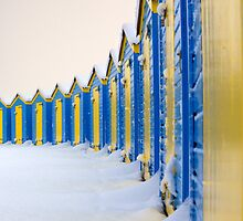 Beach Huts In The Snow - iPhone Case by Leon Ritchie