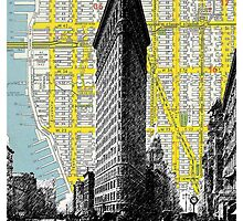 1905 Flatiron Building with Map Behind New York City by darkislandcity